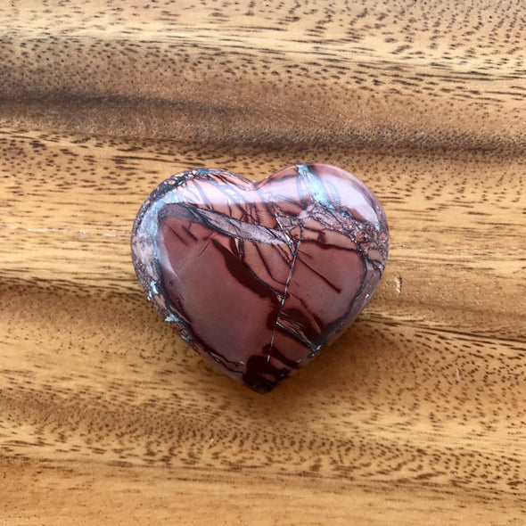 Polished Atlas Mountain Jasper Heart Stone