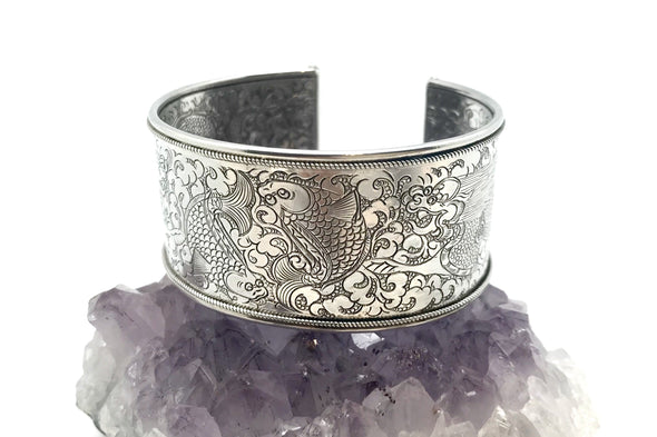 Nepalese Medium Twin Fish stamped Silver Cuff Bracelet - BMT-MED