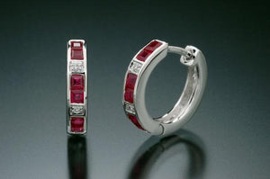 18kt White Gold, Ruby, Diamond Earrings