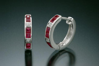18k white gold, diamond and ruby earrings