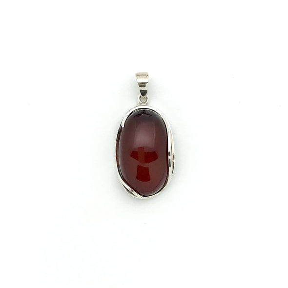 Baltic Cherry Amber Sterling Silver Pendant