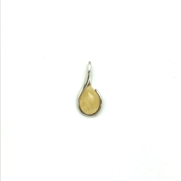 Baltic Milky Amber Pendant with Sterling Silver