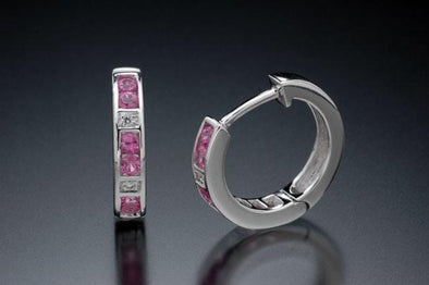 18k white gold, diamond and pink sapphire earrings