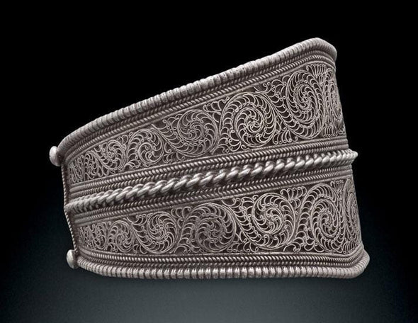 Large Nepalese Filigree Cuff Bracelet - Silver, side view - BMT-FIL