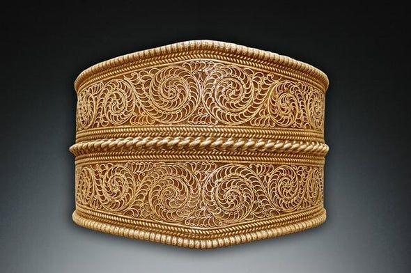 Large Nepalese Filigree Cuff Bracelet - 24K Gold Vermeil, front view