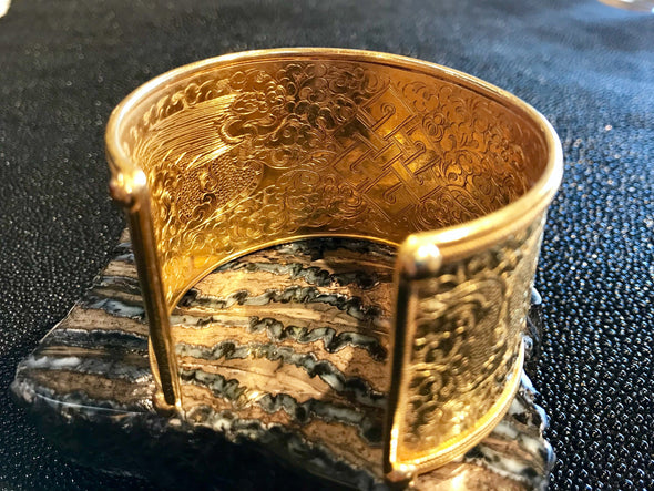 Twin Fish Cuff Bracelet 24k Gold Vermeil - Large