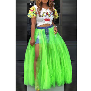 ROCKSTAR Denim Tulle Skirt / Bottom