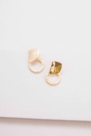 Gold and White Marble Earrings