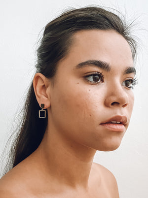Square Outline Drop Earrings