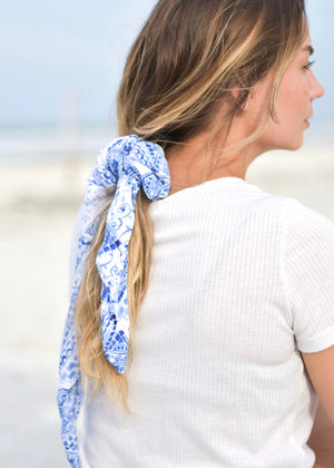 Santorini Blue and White Hair Scarf
