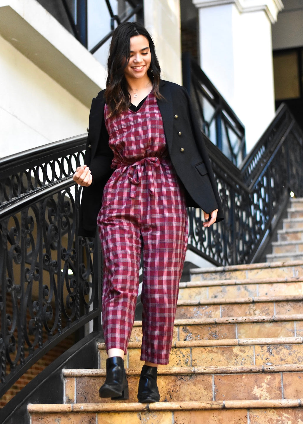 Express Yourself Plaid Jumpsuit