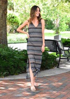 Stone Striped Knit Maxi Dress