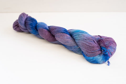 enchanted knoll farm merino silk lace - tiny purple fishes