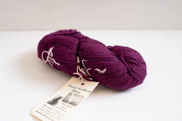 great northern yarns mink cashmere sock - mulberry