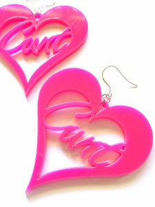 "Large Retro Hot Pink ""Cunt"" Heart Hypoallergenic surgical steel hook earrings"