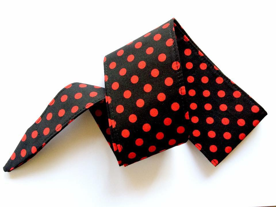 Pinup 50's Style Red & Black Polka Dot Head Wrap Scarf