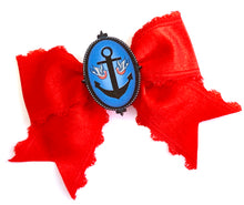 Rockabilly Pinup Anchor Swallow Sailor Red Satin Ribbon Hair Bow Clip