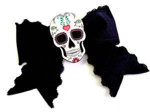 Rockabilly Pinup Sugar Skull Black Satin Ribbon Hair Bow Clip