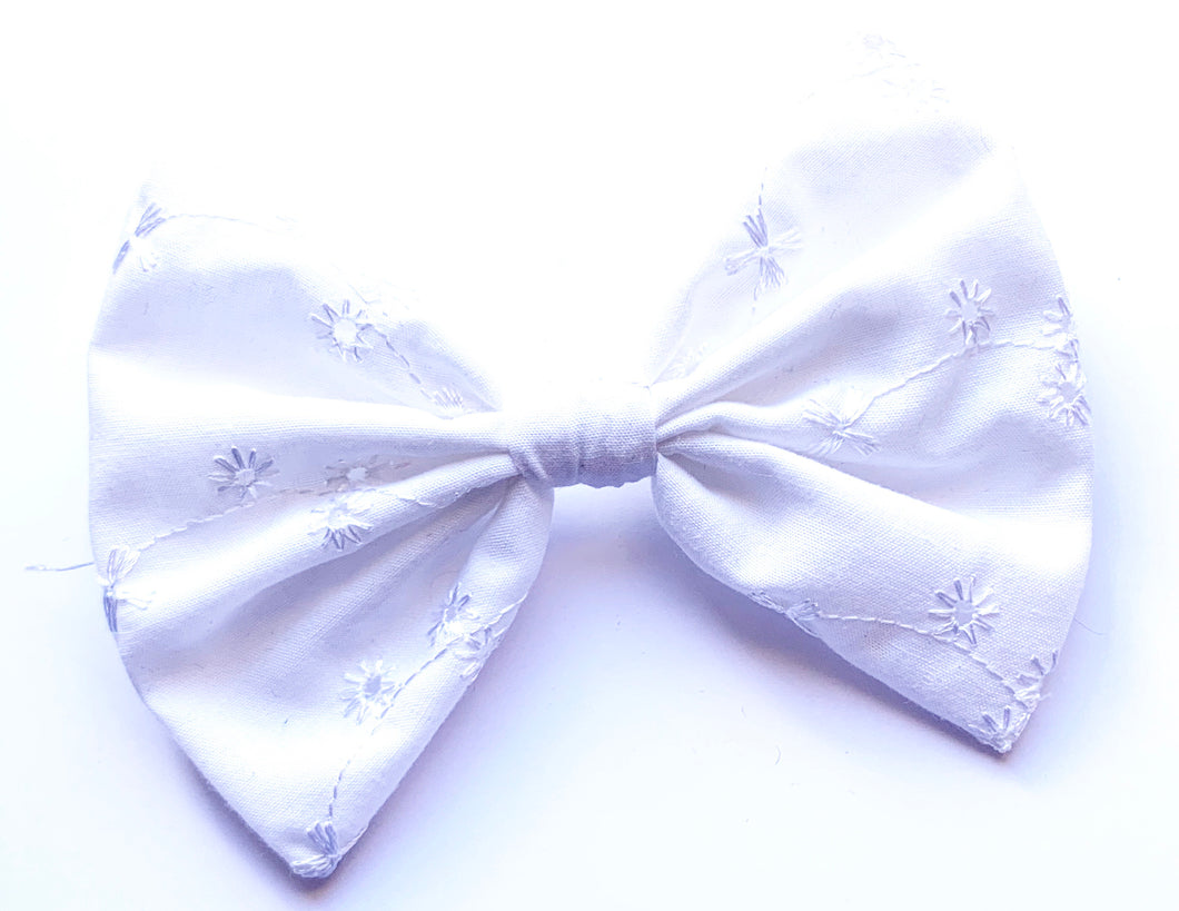 Large Rockabilly Pinup White Embroided Hair Bow Clip