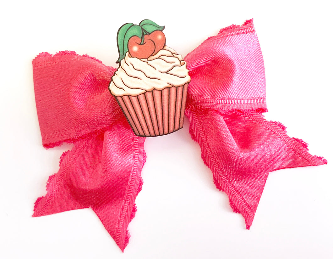 Rockabilly Pinup Cherry Cupcake Pink Satin Ribbon Hair Bow Clip