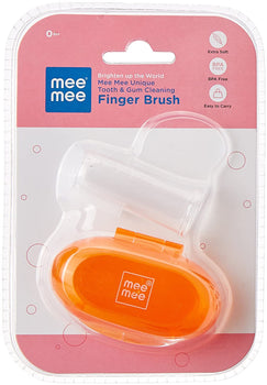 UNIQUE TOOTH & GUM CLEANING FINGER BRUSH ORANGE