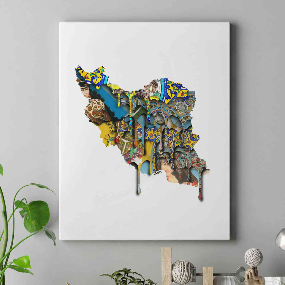 IRAN'S MAP PAINTING - IRAN CANVAS - PERSIA MAP - PERSIAN ART