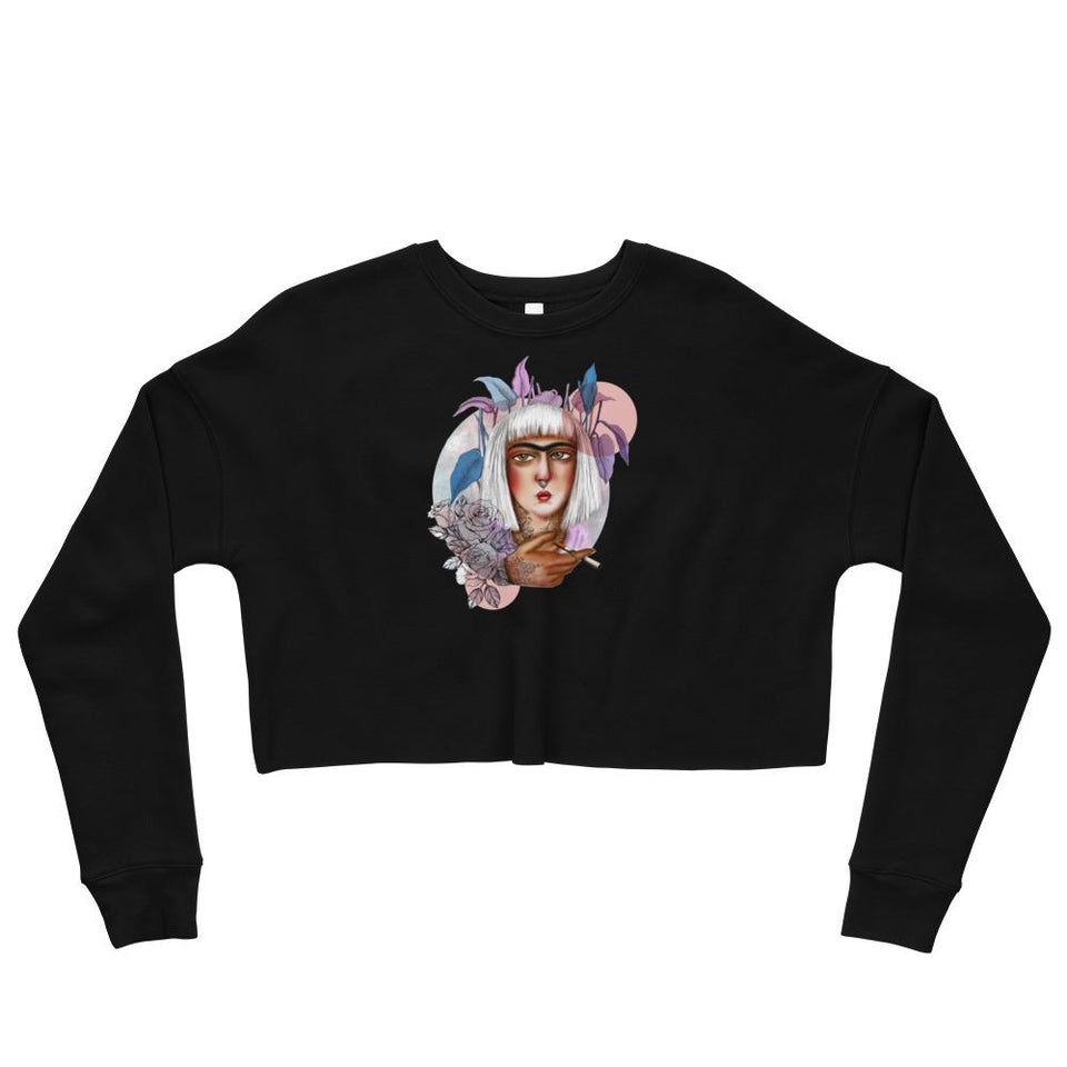 Qajari Girl Crop Sweatshirt - Black / S - Crop Sweatshirt Geev Thegeev.com