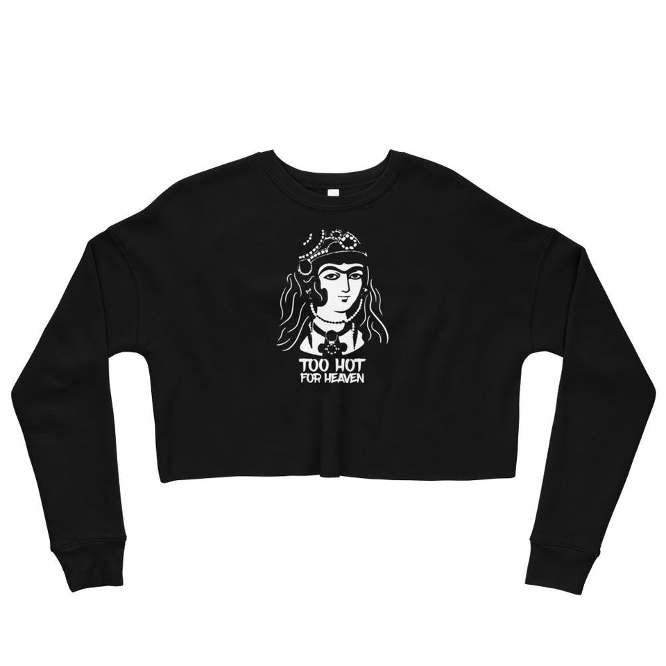Too Hot For Heaven Crop Sweatshirt - Black / S - Crop Sweatshirt Geev Thegeev.com