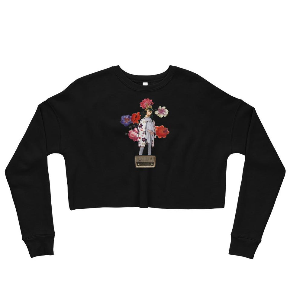 Radio Crop Sweatshirt - Black / S - Crop Sweatshirt Geev Thegeev.com