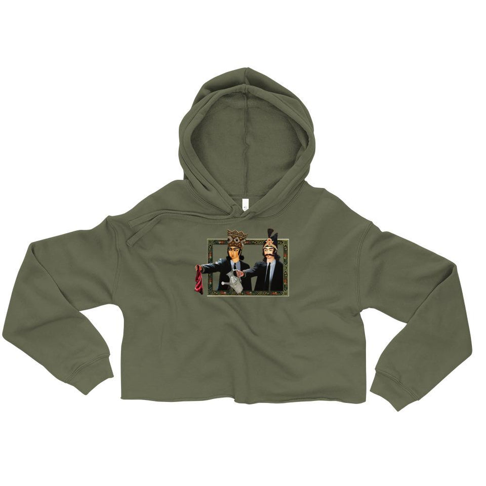 Loong Fiction Crop Hoodie - Military Green / S - Crop Hoodie Geev Thegeev.com