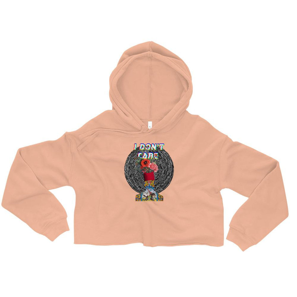 I Dont Care Cropped Hoodies - Peach / S - Crop Hoodie Geev Thegeev.com