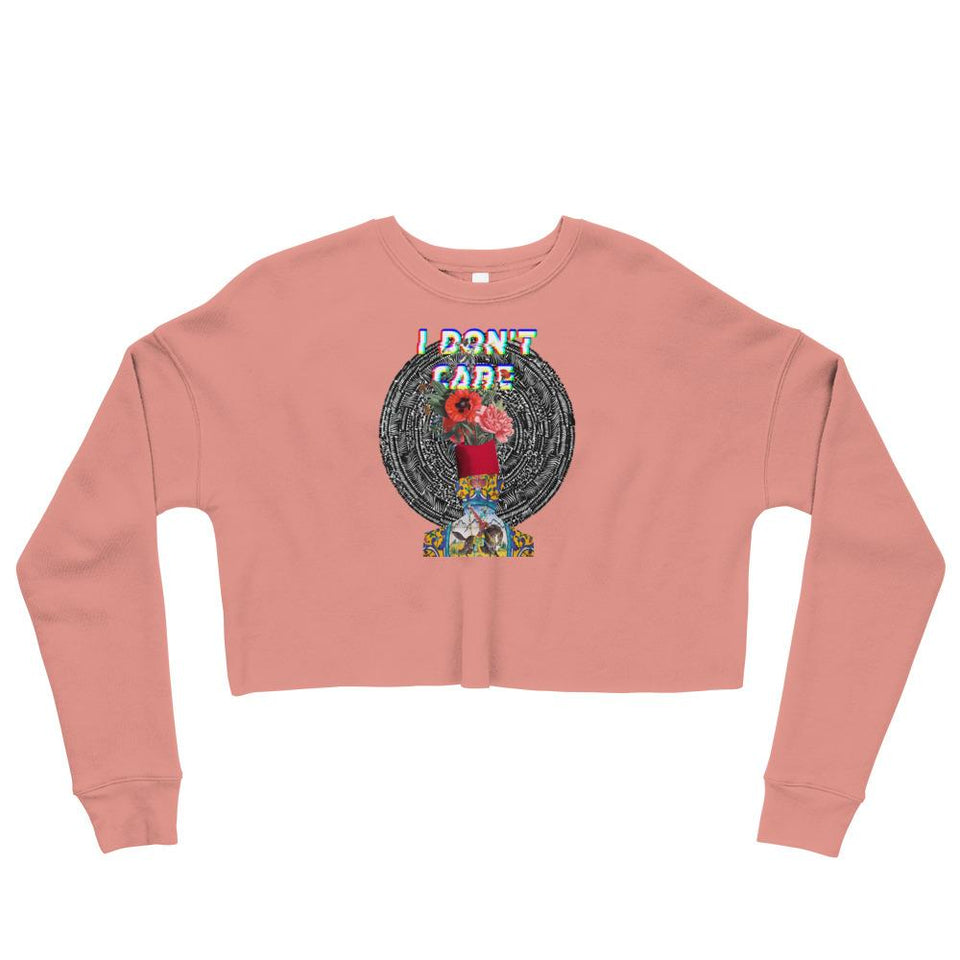 I Dont Care Crop Sweatshirt - Mauve / S - Crop Sweatshirt Geev Thegeev.com