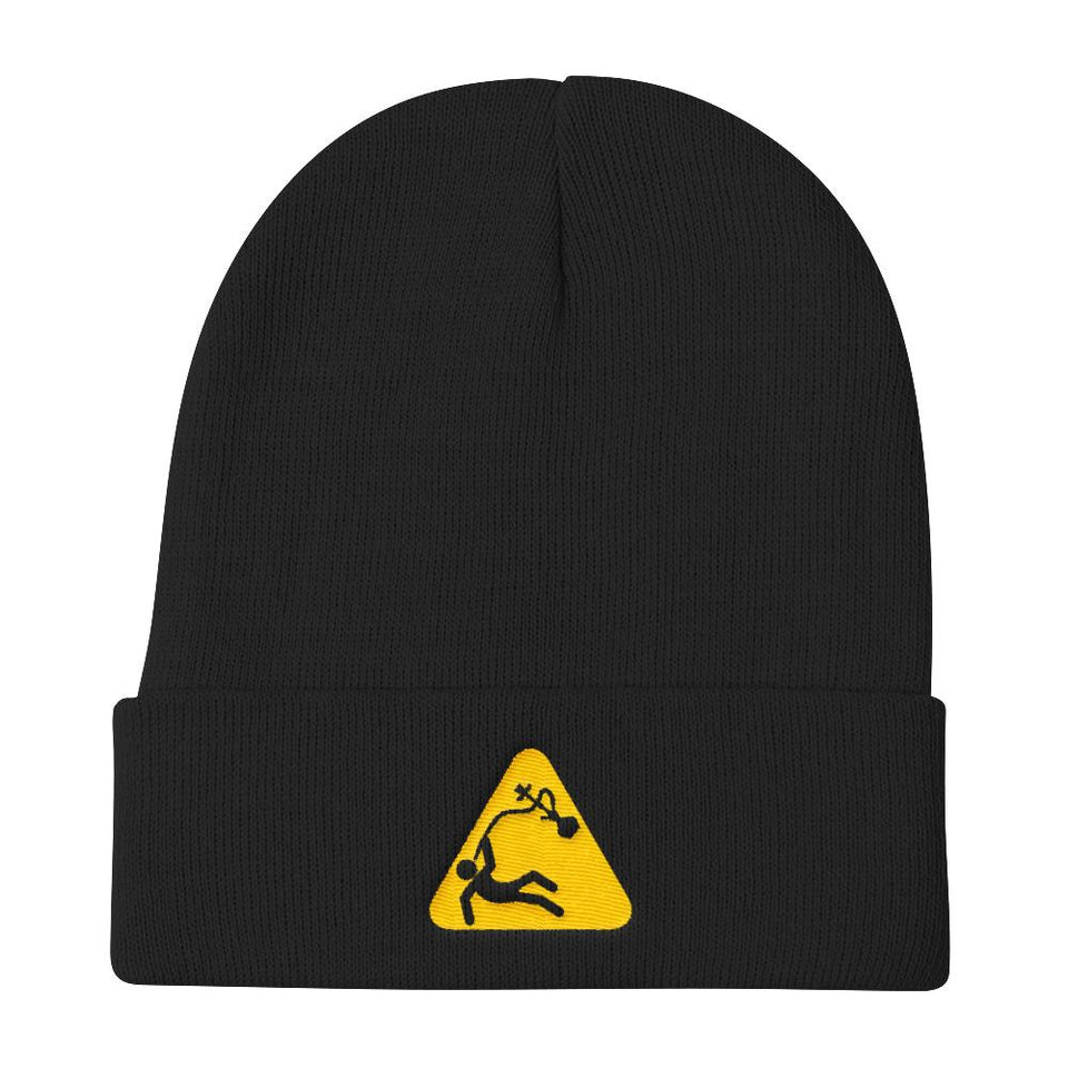Caution - Black Without Pom - Beanies Geev Thegeev.com