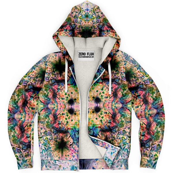 Lurian Wobble Psychedelic Fleece-Lined Zip-Up Hoodie