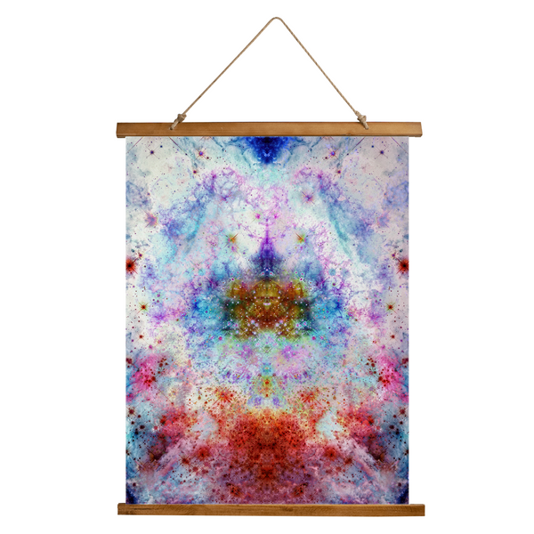 July Psychedelic Wooden Hanging Wall Tapestry