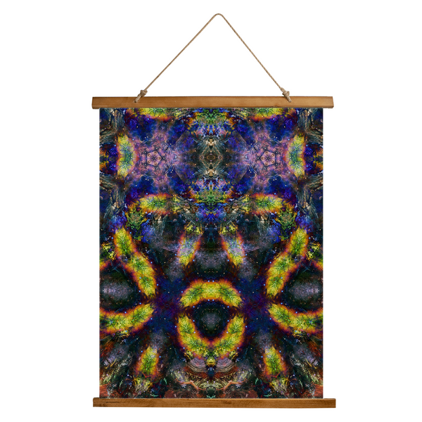 Nox Glow Psychedelic Wooden Hanging Wall Tapestry