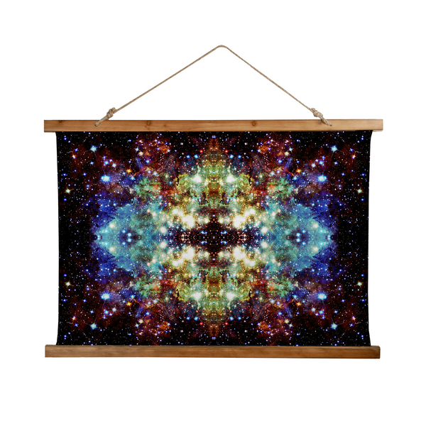Valhalla Psychedelic Wooden Hanging Wall Tapestry