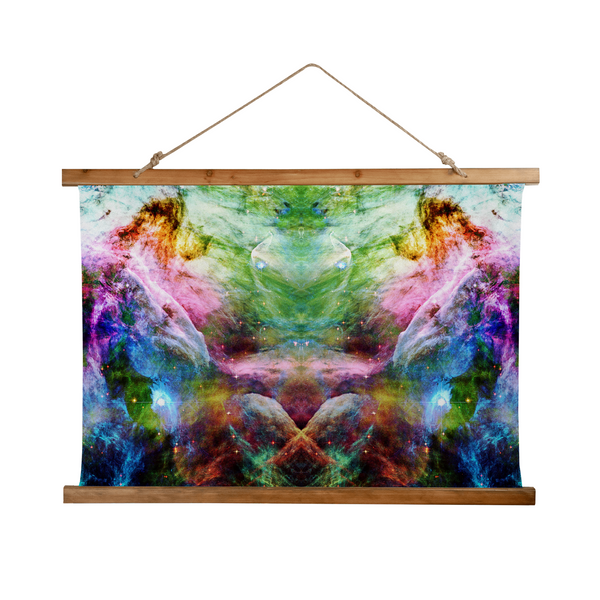 Nammu Psychedelic Wooden Hanging Wall Tapestry