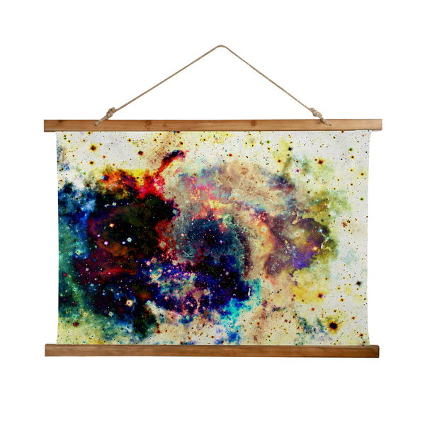 Lucien Psychedelic Wooden Hanging Wall Tapestry