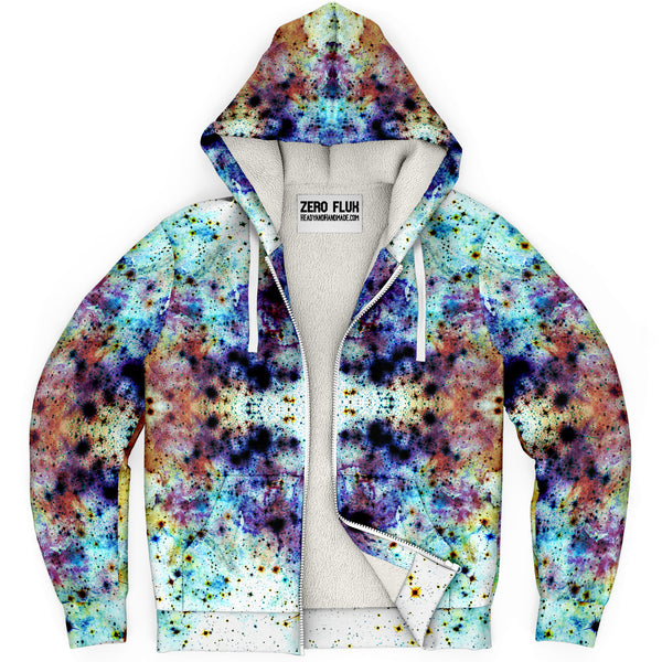 Regail Psychedelic Fleece-Lined Zip-Up Hoodie