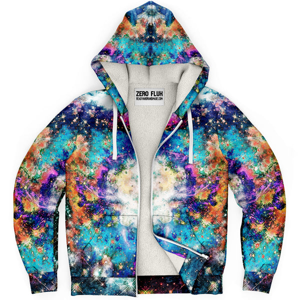 Acquiesce Apothos Psychedelic Fleece-Lined Zip-Up Hoodie