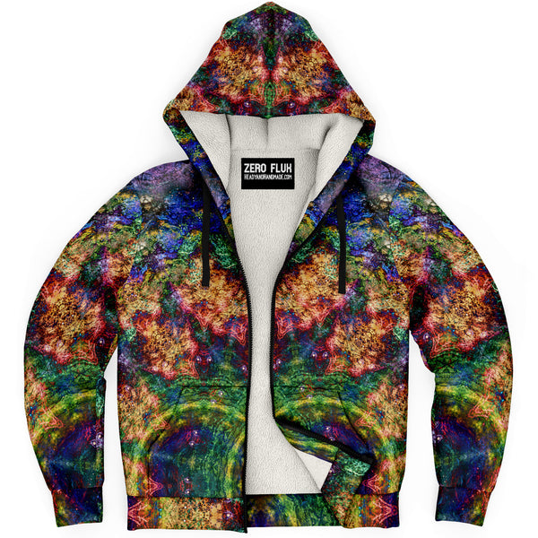 Starflow Psychedelic Fleece-Lined Zip-Up Hoodie