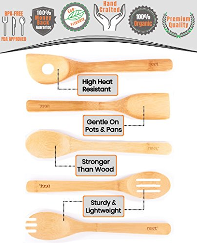 Bamboo Cooking Utensils Set with Unique Elevation Feature