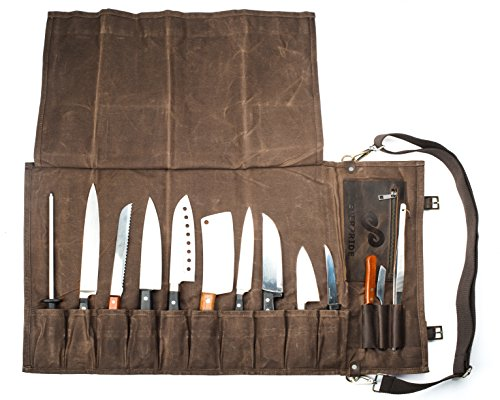 Chef Knife Set with Durable Waxed Canvas Carrier