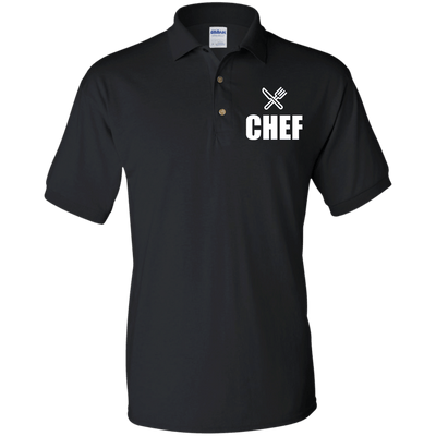 Chef Knife and Fork Jersey Polo Shirt