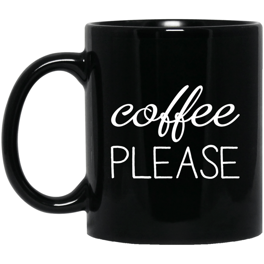 Coffee please Black Mug