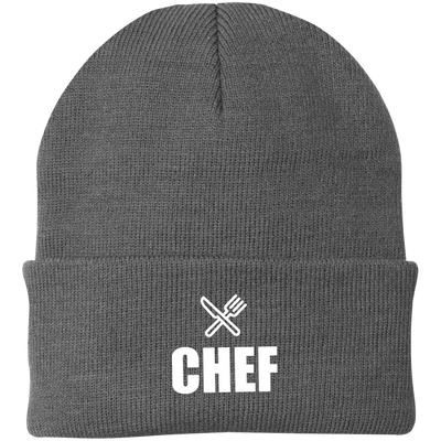 Chef Knife and Fork Logo Port Authority Knit Cap