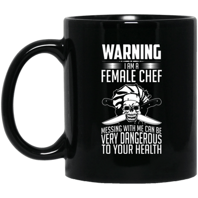 Warning Female Chef Black Mug