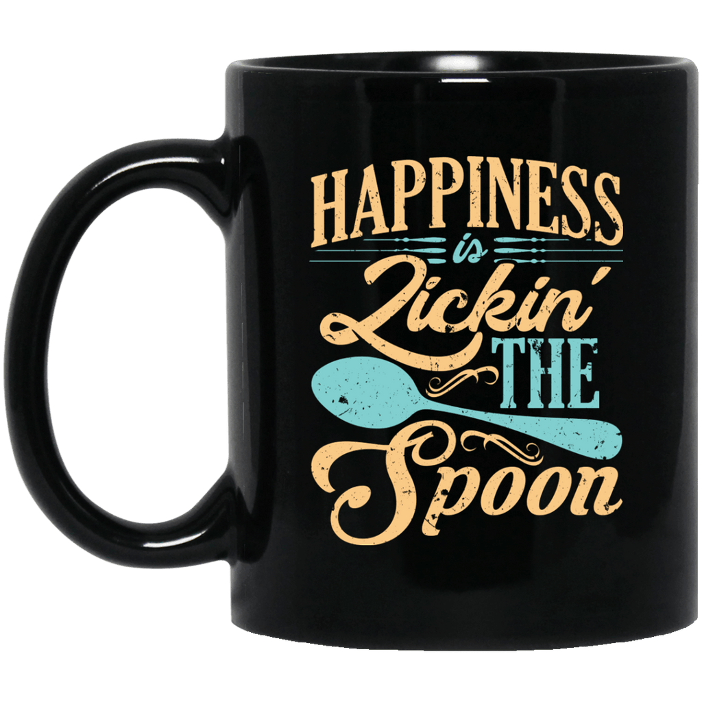 Happiness is Licking the Spoon Black Mug