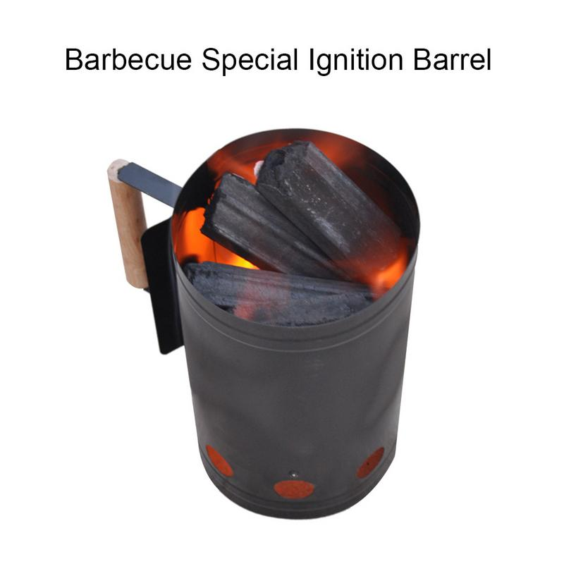 Barbecue charcoal ignition barrel